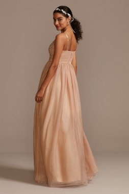 Glitter Tulle V-Neck Maxi Dress with Beaded X43796TCY