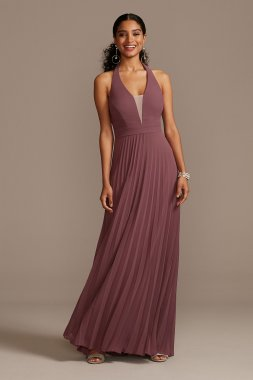 Floor-Length Chiffon Deep V-Neck Halter Dress Speechless X44011CA7