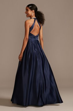 Embellished Bodice Satin Gown with Open Back 1168BN