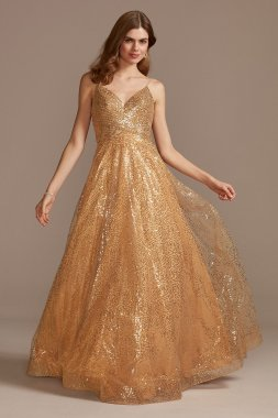 Sequin Spaghetti Strap Low Back Ball Gown 2011P1477