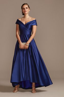 Satin Off the Shoulder Gown with Portrait Collar 3476X