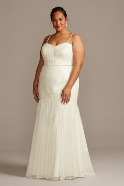 Allover Sequin Corset Plus Size Wedding Dress 9SWG854