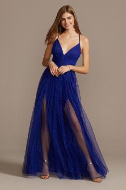 Pleated Bodice Gown with Glitter Tulle Overlay ADS1237420