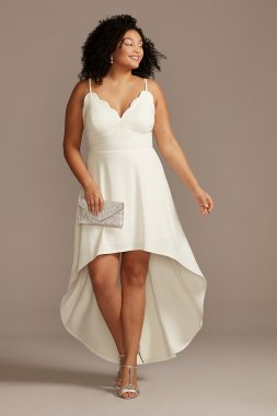 Scalloped V-Neck Plus Size Dress with High Low Hem CW45071DNE