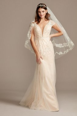 Floral Applique Tulle Cap Sleeve Wedding Dress Style MS251218