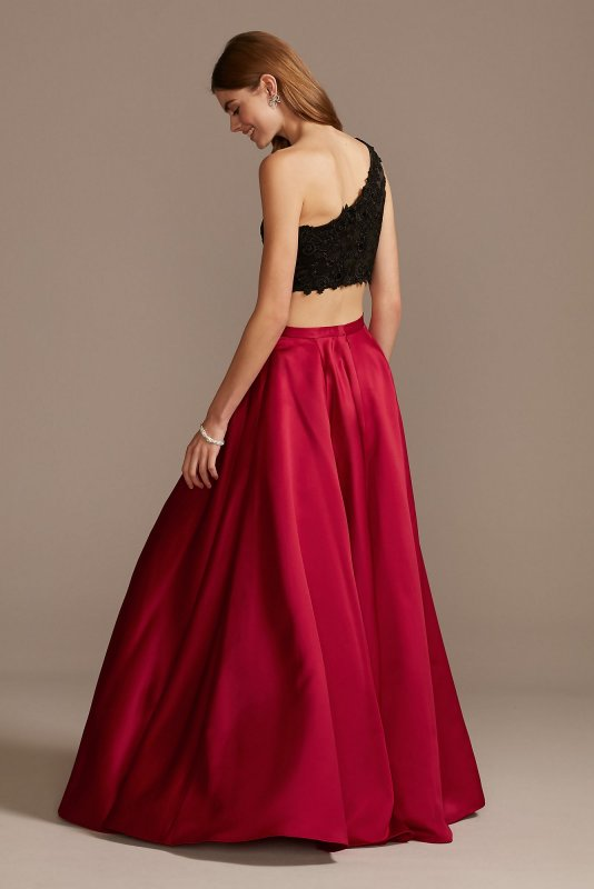 Asymmetric Lace Crop Top and Satin Split Skirt Set WBM1795RW