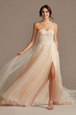Floral Bead Tall Wedding Dress with Metallic Tulle 4XLSWG871