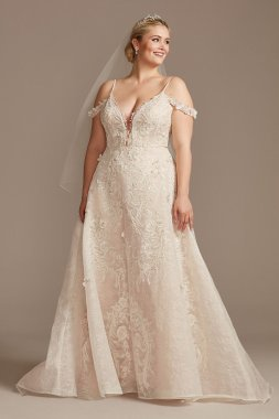 Beaded Applique Plus Size Wedding Dress with Swags 8CWG875