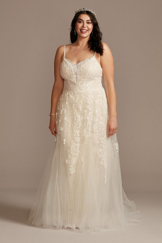 Pleated Lace Caged Skirt Plus Size Wedding Dress 8MS251229