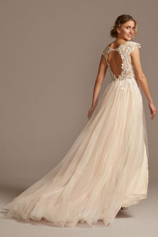 Illusion Cap Sleeve Lace Appliqued Wedding Dress SWG862