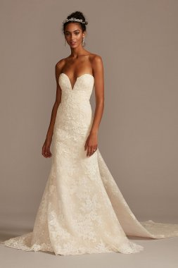 Lace Removable Bow Train Tall Wedding Dress 4XLCWG880