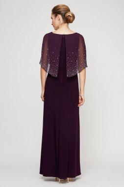 Chiffon Long Dress with Embellished Sheer Popover 81351534