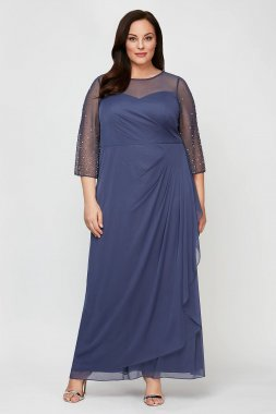3/4 Beaded Sleeve Ruched Cascade Plus Size Dress 8432963