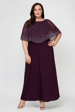 A-Line Plus Size Dress with Beaded Chiffon Overlay 84351534
