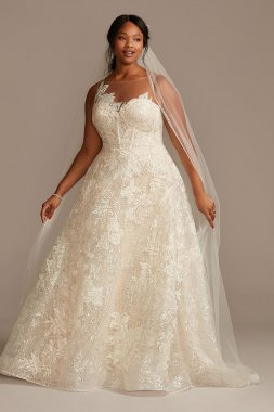 Applique Plus Size Wedding Dress with Button Back 8CWG876
