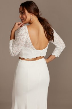 Lace 3/4 Sleeve Plus Size Wedding Separates Top 9DS150847