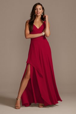 Tank Georgette Cascade Bridesmaid Dress with Slit F20225