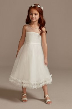 Illusion Pleated Flower Girl Dress with 3D Florals WG1410
