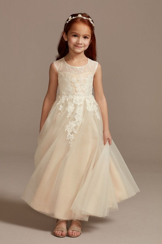Illusion and Tulle Flower Girl Dress with Applique WG1411