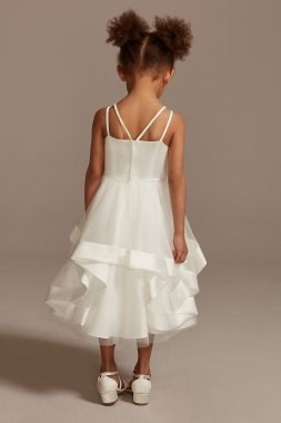 Double Strap Flower Girl Dress with Satin Edge Hem WG1413