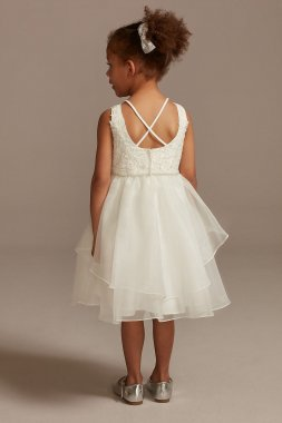Lace Applique Flower Girl Dress with Tiered Skirt WG1414