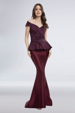 Lace Jacquard and Mikado Peplum Mermaid Gown 1821M7577