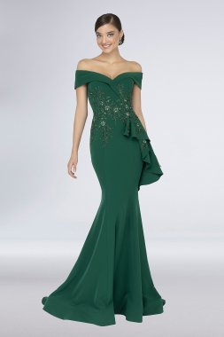 Floral Embroidered Stretch-Crepe Off-Shoulder Gown 1911M9339