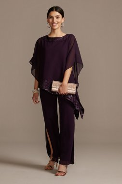 Asymmetric Chiffon and Embroidery Pant Suit Set 28536