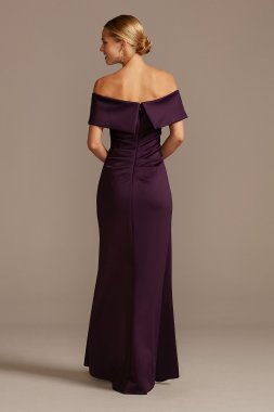 Off the Shoulder Ruched Gown with Hip Cascade 3008XD