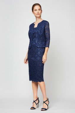 Sequin Lace Petite Jacket and Dress Set 82122329