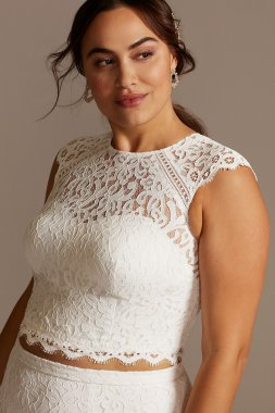 Button Back Lace Plus Size Wedding Separates Top DB Studio 9DS150848