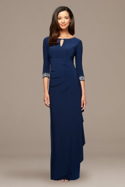 Petite A-Line Cascade Dress with Beaded Sleeves Alex Evenings 2351416
