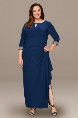 Plus A-Line Cascade Dress with Embellished Sleeves Alex Evenings 4351416