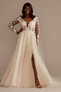 Long Sleeve Lace Appliqued Tall Plus Wedding Dress Galina Signature 4XL9SLSWG862
