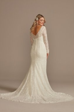 Hand Beaded Lace Long Sleeve Tall Wedding Dress Melissa Sweet 4XLSLMS251206
