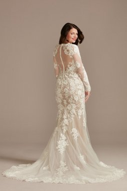 Illusion High Neck Lace Godet Petite Wedding Dress DB Studio 7WG4021