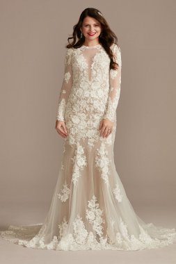 Long Sleeve Sequin Floral Tall Wedding Dress Galina Signature 4XLSLSWG843
