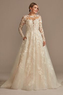Lace Illusion Long Sleeve Petite Wedding Dress Oleg Cassini 7SLCWG833