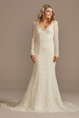 Hand Beaded Lace Long Sleeve Petite Wedding Dress Melissa Sweet 7SLMS251206