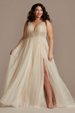 Plunging-V Illusion Beaded Plus Size Wedding Dress Galina Signature 9LBSWG837