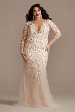 Long Sleeve Bodysuit Plus Size Wedding Dress Galina Signature 9LSSWG851