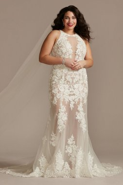 Illusion Keyhole Bodysuit Plus Size Wedding Dress Galina Signature 9MBSWG843