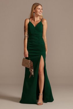Crepe Spaghetti Strap Gown with Ruching Emerald Sundae ABF3405600