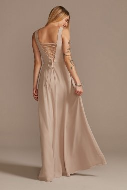 Squared Tank Lace Up Chiffon Bridesmaid Dress David's Bridal F20328