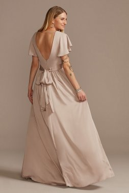 Flutter Sleeve V-Neck Charmeuse Bridesmaid Dress David's Bridal F20347