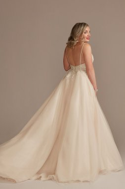 Detachable Sleeves and Train Tulle Wedding Dress Galina Signature LSSWG881