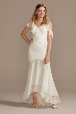 Asymmetrical Neck Chiffon Dress with Ruffled Hem DB Studio SDWG0932