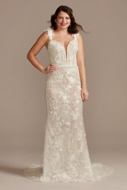 Classic 3/4 Sleeve Lace and Organza CWG731 Style Organza Wedding Dresses