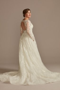 WG3977 Style Long Fitted Floral Applique Sheer Bodice Crepe Wedding Dress