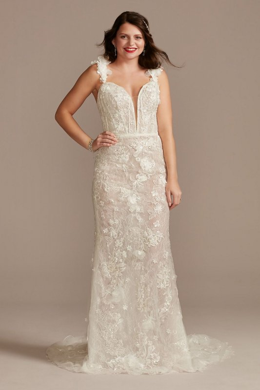3D Floral Plunge Petite Bodysuit Wedding Dress Galina Signature 7MBSWG885